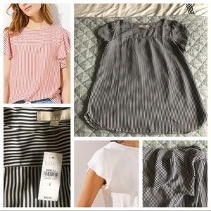 Loft mixed stripe tulip sleeve blouse